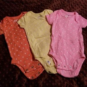 3 polka dot Carter's onesies orange yellow pink 3m